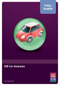 Policy Booklet. AIB Car Insurance