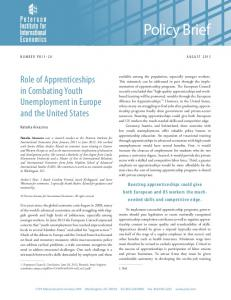 Policy Brief. Role of Apprenticeships in Combating Youth Unemployment in Europe and the United States