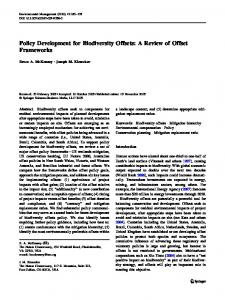 Policy Development for Biodiversity Offsets: A Review of Offset Frameworks