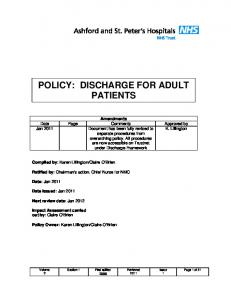 POLICY: DISCHARGE FOR ADULT PATIENTS