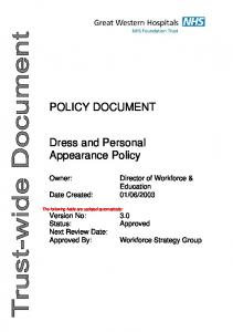 POLICY DOCUMENT. Dress and Personal Appearance Policy