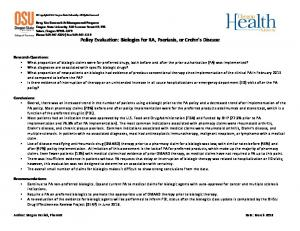 Policy Evaluation: Biologics for RA, Psoriasis, or Crohn s Disease