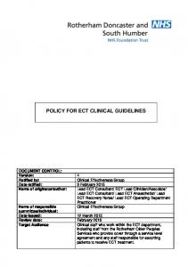 POLICY FOR ECT CLINICAL GUIDELINES