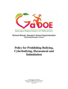 Policy for Prohibiting Bullying, Cyberbullying, Harassment and Intimidation