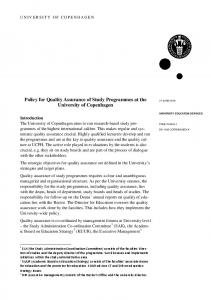 Policy for Quality Assurance of Study Programmes at the University of Copenhagen