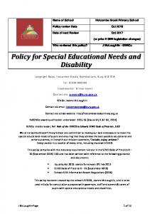 Policy for Special Educational Needs and Disability