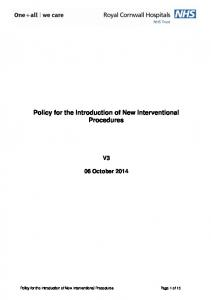 Policy for the Introduction of New Interventional Procedures
