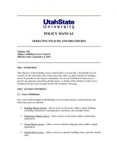 POLICY MANUAL OPERATING POLICIES AND PROCEDURES