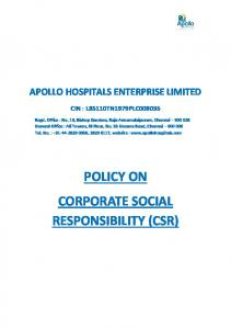 POLICY ON CORPORATE SOCIAL RESPONSIBILITY (CSR)