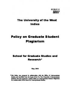 Policy on Graduate Student Plagiarism