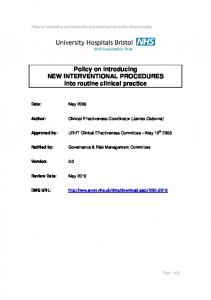 Policy on introducing NEW INTERVENTIONAL PROCEDURES into routine clinical practice