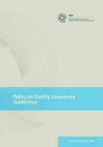 Policy on Quality Assurance Guidelines