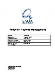 Policy on Records Management