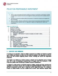 POLICY ON RESPONSIBLE INVESTMENT