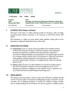 POLICY. USF System USF USFSP USFSM. Date of Origin: TBD Date Last Amended: Date Last Reviewed: