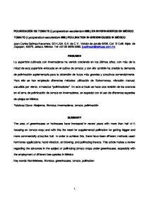 POLINIZACIÓN DE TOMATE (Lycopersicon esculentum Mill.) EN INVERNADEROS EN MÉXICO