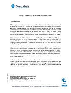 POLÍTICA ANTIFRAUDE Y ANTICORRUPCIÓN FIDUOCCIDENTE
