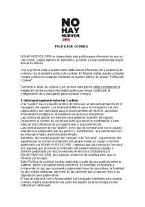POLÍTICA DE COOKIES 1. Información general sobre las Cookies: