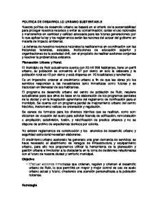 POLITICA DE DESARROLLO URBANO SUSTENTABLE