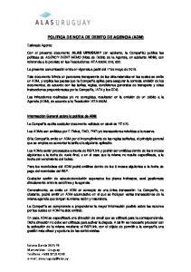 POLITICA DE NOTA DE DEBITO DE AGENCIA (ADM)