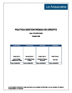 POLITICA GESTION RIESGO DE CREDITO