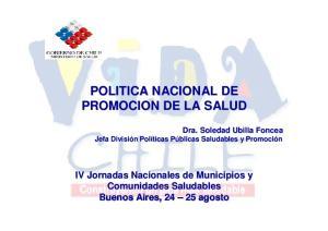 POLITICA NACIONAL DE PROMOCION DE LA SALUD