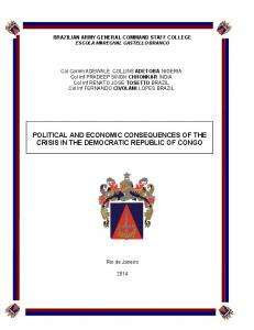 POLITICAL AND ECONOMIC CONSEQUENCES OF THE CRISIS IN THE DEMOCRATIC REPUBLIC OF CONGO