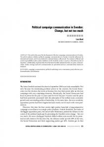 Political campaign communication in Sweden: Change, but not too much
