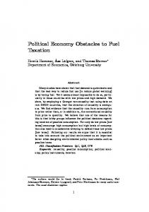 Political Economy Obstacles to Fuel Taxation