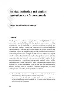 Political leadership and conflict resolution: An African example