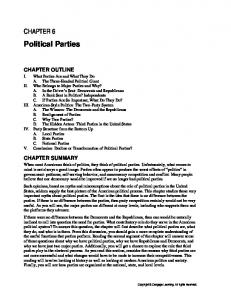 Political Parties CHAPTER 6 CHAPTER OUTLINE CHAPTER SUMMARY