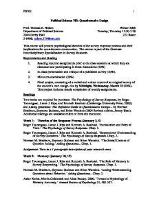 Political Science 702: Questionnaire Design