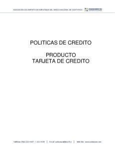 POLITICAS DE CREDITO PRODUCTO TARJETA DE CREDITO