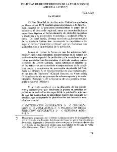 POLITICAS DE REDISTRIBUCION DE LA POBLACION DE AMEIUCA LATINAY RESUMEN