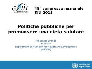 Politiche pubbliche per promuovere una dieta salutare