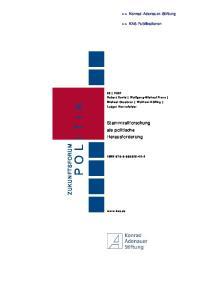POLITIK ZUKUNFTSFORUM. Stammzellforschung als politische Herausforderung
