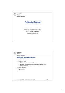 Politische Rechte. Vorlesung vom 30. November 2012 Prof. Christine Kaufmann Herbstsemester 2012