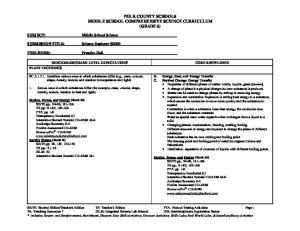 POLK COUNTY SCHOOLS MIDDLE SCHOOL COMPREHENSIVE SCIENCE CURRICULUM (GRADE 6)
