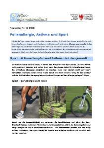 Pollenallergie, Asthma und Sport