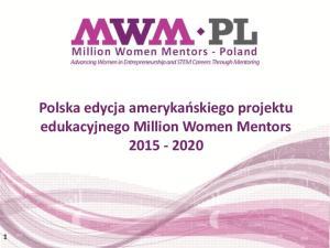 Polska edycja amerykańskiego projektu edukacyjnego Million Women Mentors