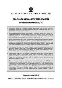 POLSKA W NATO - STOPIEN POPARCIA I PRZEWIDYWANE SKUTKI