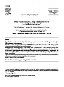 Poly-victimization: A neglected component in child victimization