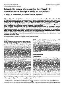 Polyarteritis nodosa when applying the Chapel Hill nomenclature a descriptive study on ten patients
