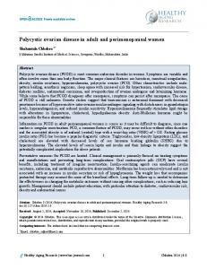 Polycystic ovarian disease in adult and perimenopausal women