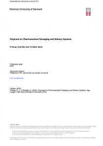 Polymers for Pharmaceutical Packaging and Delivery Systems