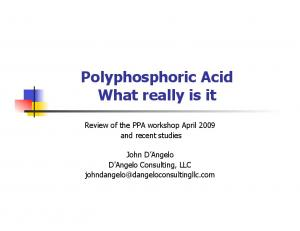Polyphosphoric Acid What really is it