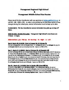 Ponaganset Regional High School & Ponaganset Middle School Bus Routes