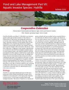 Pond and Lake Management Part VII: Aquatic Invasive Species: Hydrilla