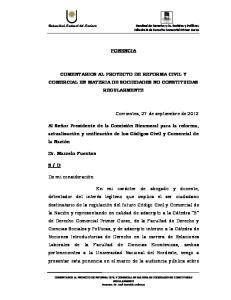 PONENCIA COMENTARIOS AL PROYECTO DE REFORMA CIVIL Y COMERCIAL EN MATERIA DE SOCIEDADES NO CONSTITUIDAS REGULARMENTE