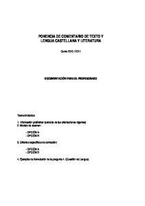 PONENCIA DE COMENTARIO DE TEXTO Y LENGUA CASTELLANA Y LITERATURA